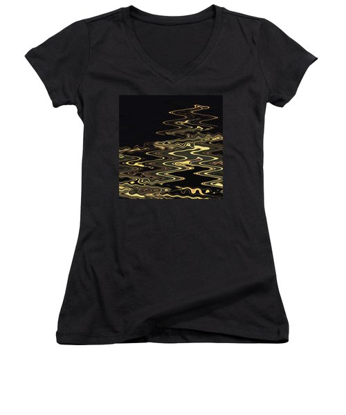 Golden Shimmers On A Dark Sea Women's V-Neck