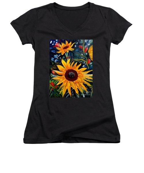 Golden Sunflower Burst Women's V-Neck (Athletic Fit)