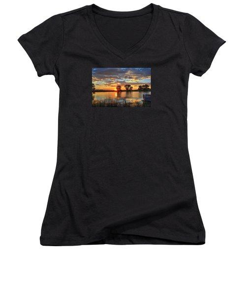 Golden Sunrise Women's V-Neck T-Shirt (Junior Cut) by Fiskr Larsen
