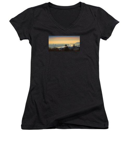 Women's V-Neck T-Shirt (Junior Cut) featuring the photograph Golden Sunrise Over Budapest by Jivko Nakev