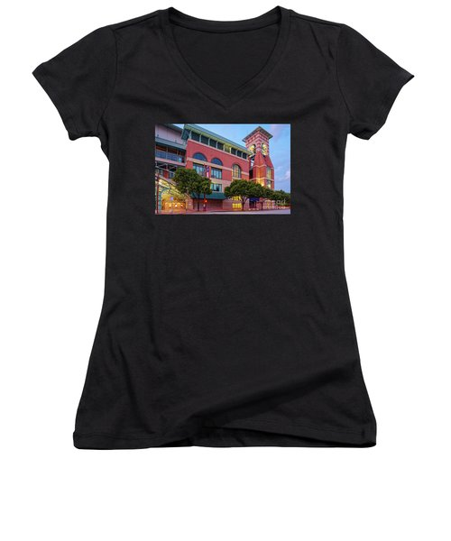 Golden Sunset Glow On The Facade Of Minute Maid Park - Downtown Houston Harris County Texas Women's V-Neck