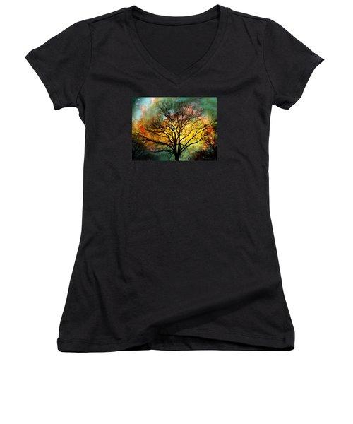 Golden Sunset Treescape Women's V-Neck (Athletic Fit)