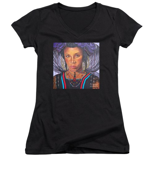 Women's V-Neck T-Shirt (Junior Cut) featuring the painting Golden Wodaabe Girl by Sigrid Tune