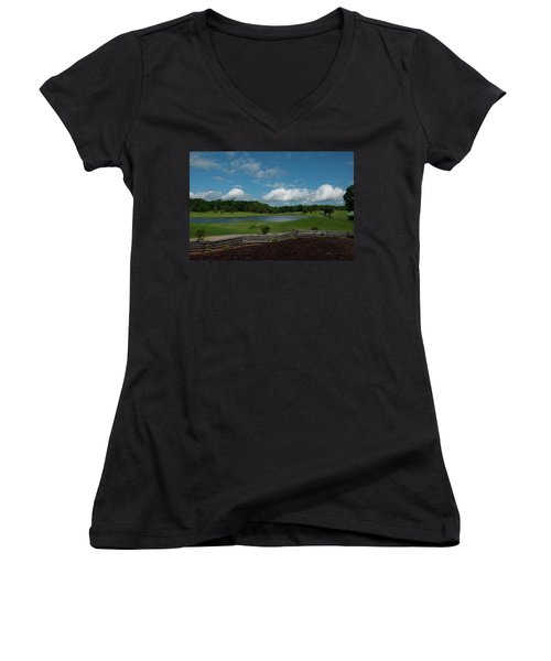 Golf Course The Back 9 Women's V-Neck T-Shirt (Junior Cut) by Chris Flees