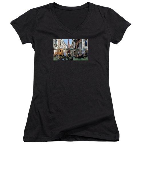 Women's V-Neck T-Shirt (Junior Cut) featuring the photograph Gondoliers by Robert  Moss