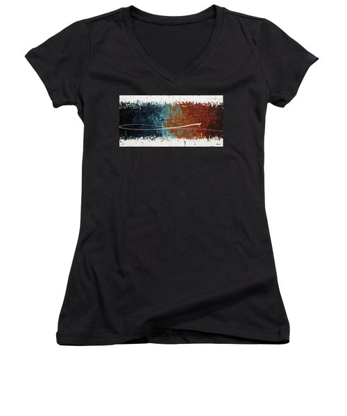 Women's V-Neck T-Shirt (Junior Cut) featuring the painting Good Feeling - Abstract Art by Carmen Guedez