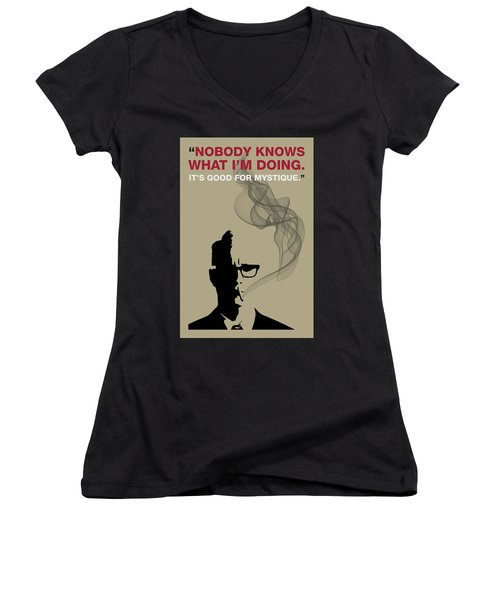 Good For Mystique - Mad Men Poster Roger Sterling Quote Women's V-Neck T-Shirt