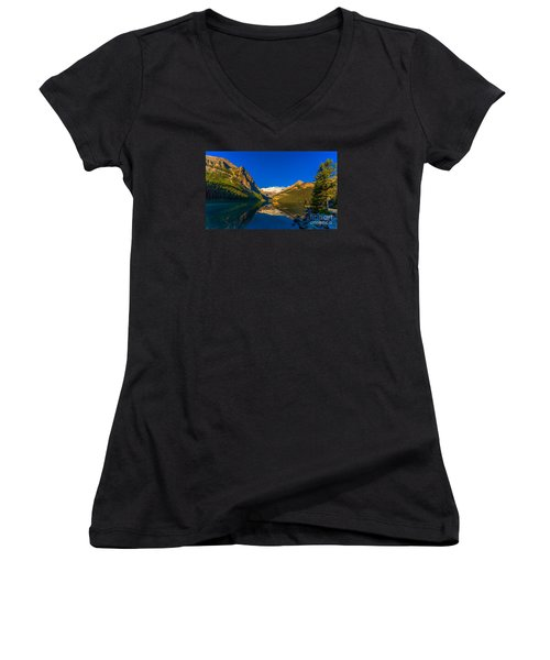 Good Morning Lake Louise Women's V-Neck T-Shirt (Junior Cut) by John Roberts