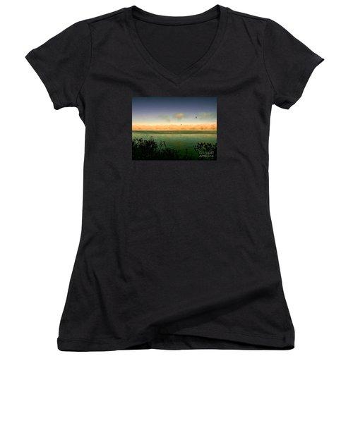 Women's V-Neck T-Shirt (Junior Cut) featuring the photograph Good Morning Lake Winnisquam by Mim White