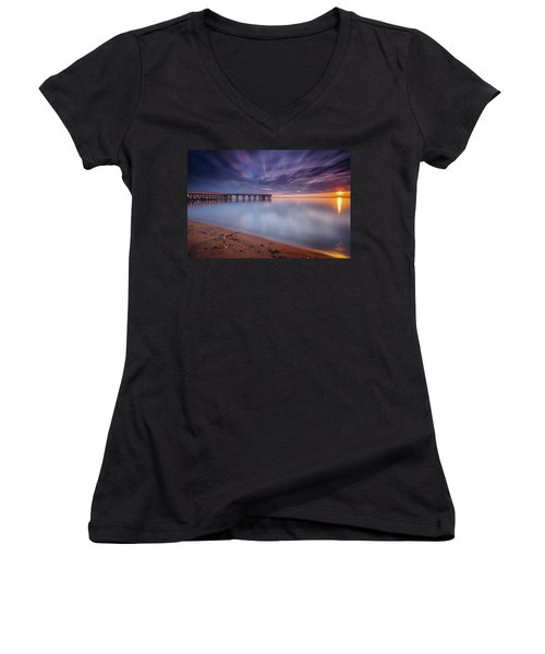 good morning Mr. Sun   Women's V-Neck T-Shirt (Junior Cut) by Edward Kreis