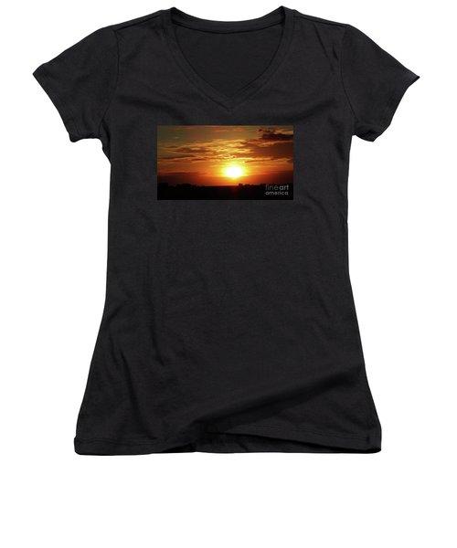 Women's V-Neck T-Shirt (Junior Cut) featuring the photograph Good Morning Sun  by J L Zarek