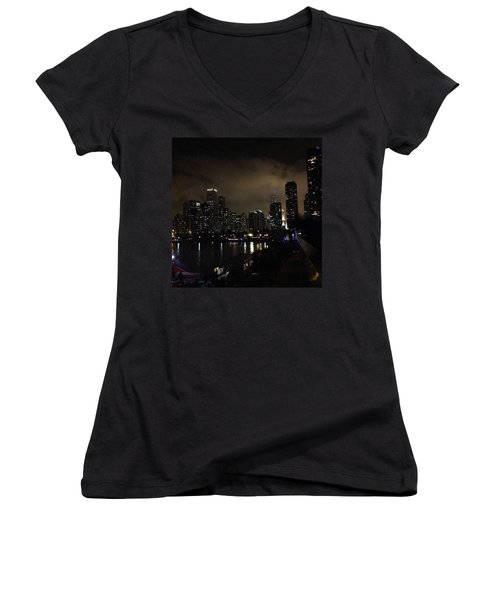 Chicago Skyline By Night Women's V-Neck T-Shirt