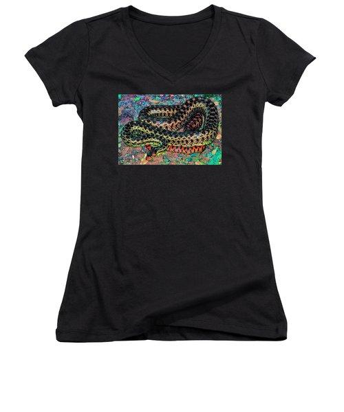 Women's V-Neck T-Shirt (Junior Cut) featuring the photograph Gopher Snake by Pamela Cooper