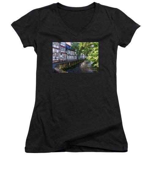 Goslar Old Town 8 Women's V-Neck T-Shirt (Junior Cut) by Rudi Prott