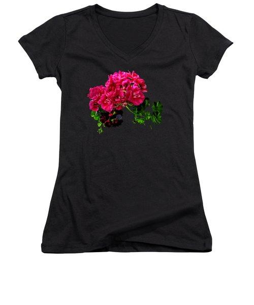 Graceful Geraniums Women's V-Neck T-Shirt (Junior Cut) by Susan Savad