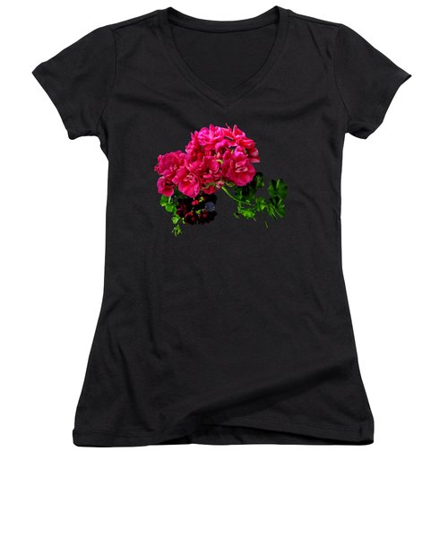 Graceful Geraniums Women's V-Neck T-Shirt (Junior Cut)