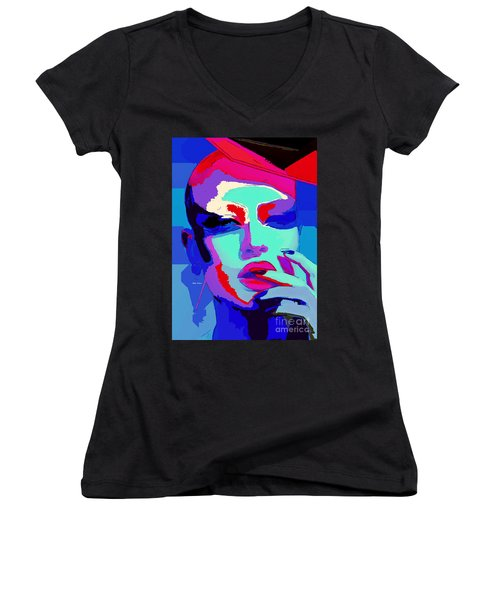 Women's V-Neck T-Shirt featuring the digital art Graduated With Flying Colors by Rafael Salazar