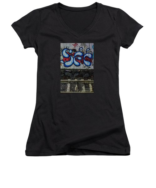 Graffitti And Train Tracks Women's V-Neck (Athletic Fit)
