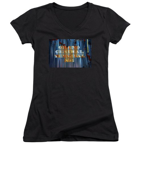 Women's V-Neck T-Shirt (Junior Cut) featuring the photograph Grand Central Terminal No 1 by Karol Livote