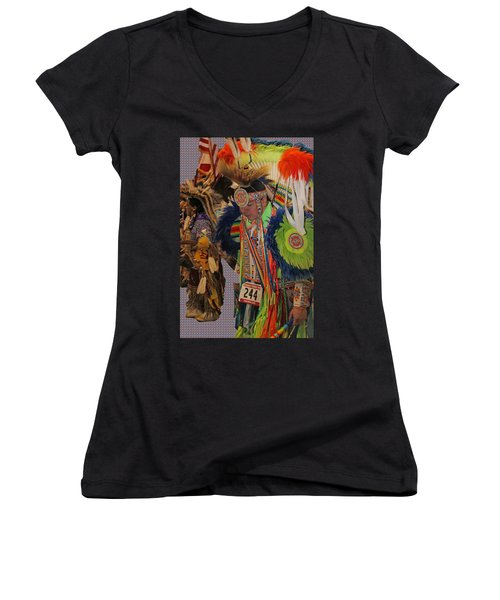 Grand Entry-3 Women's V-Neck T-Shirt (Junior Cut) by Audrey Robillard