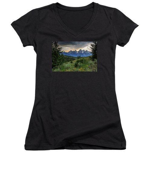 Women's V-Neck T-Shirt (Junior Cut) featuring the photograph Grand Stormy Sunset by David Chandler