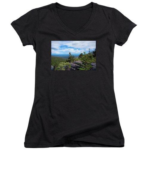 Grandfather Mountain Women's V-Neck T-Shirt (Junior Cut) by Glenn Gemmell