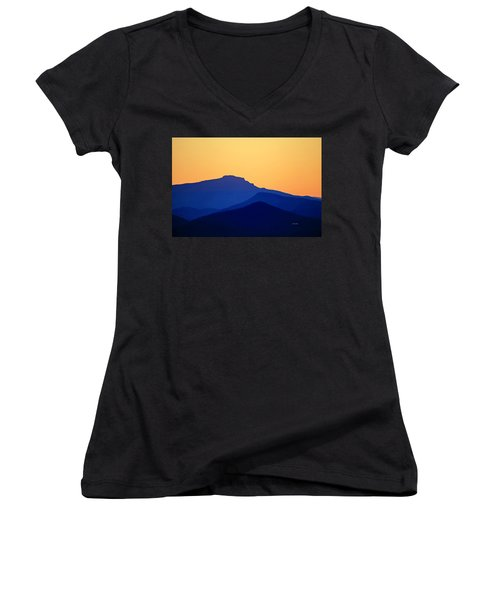 Grandfather Sunset Women's V-Neck T-Shirt (Junior Cut) by Dale R Carlson