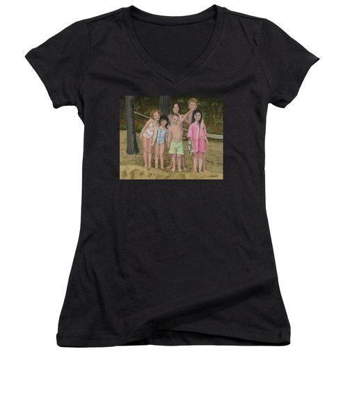 Women's V-Neck T-Shirt (Junior Cut) featuring the painting Grandkids On The Beach by Ferrel Cordle