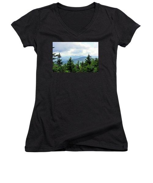 Women's V-Neck T-Shirt (Junior Cut) featuring the photograph Grandmother Mountain by Meta Gatschenberger