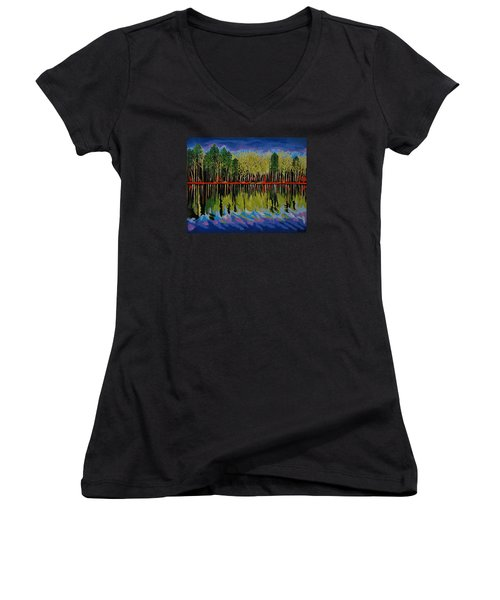 Women's V-Neck T-Shirt (Junior Cut) featuring the painting Grant's Lake Reflections by Kathleen Sartoris