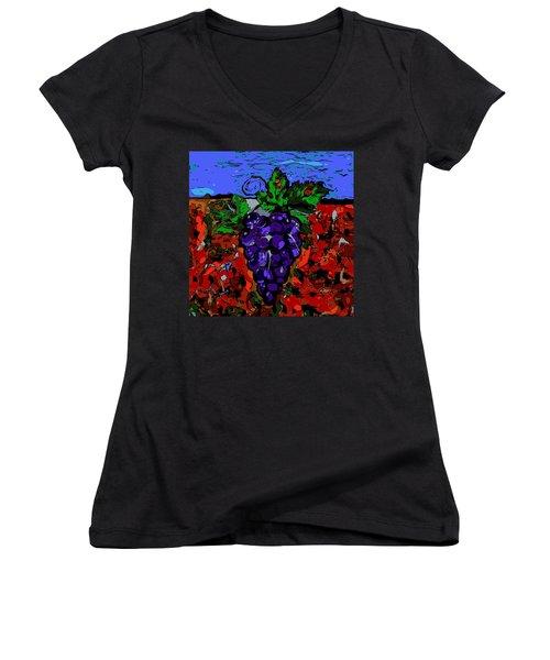Grape Jazz Digital Women's V-Neck (Athletic Fit)