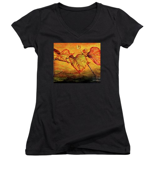 Women's V-Neck T-Shirt (Junior Cut) featuring the painting Grape Vine by Judy Kirouac