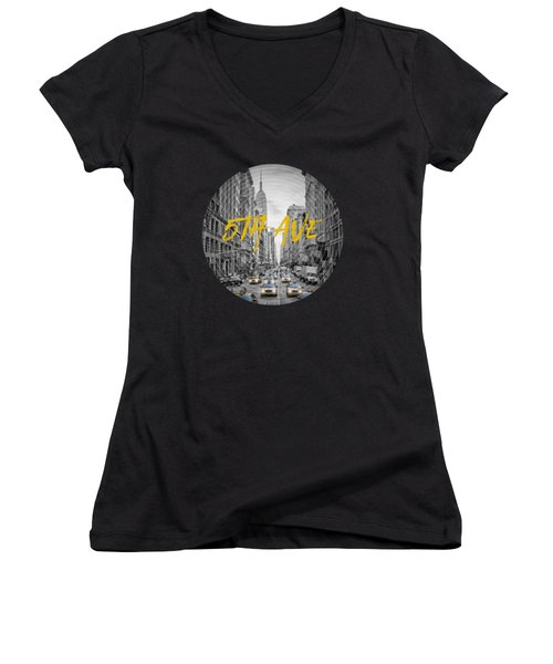 Graphic Art Nyc 5th Avenue Women's V-Neck T-Shirt (Junior Cut) by Melanie Viola