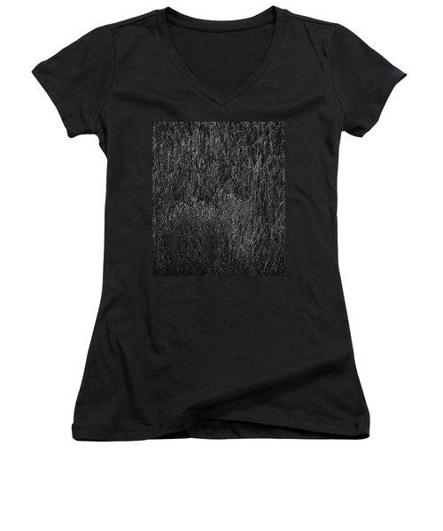 Grass Black And White Women's V-Neck T-Shirt (Junior Cut) by Glenn Gemmell