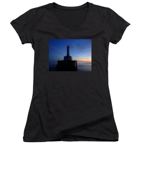 Grays Reef Lighthouse At Dusk Women's V-Neck T-Shirt (Junior Cut) by Keith Stokes