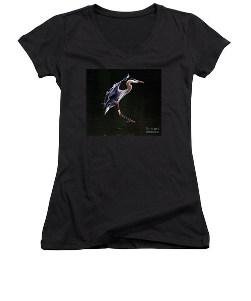 Great Blue Heron On The Wing Women's V-Neck