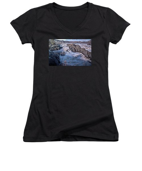 Women's V-Neck T-Shirt (Junior Cut) featuring the photograph Great Falls Virginia by Suzanne Stout