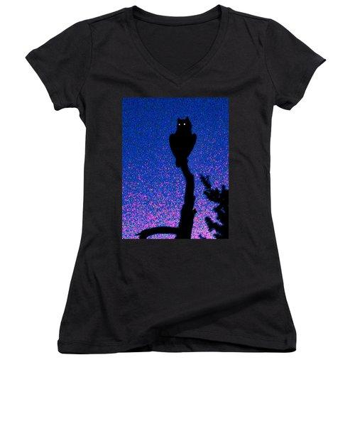 Great Horned Owl In The Desert Women's V-Neck T-Shirt