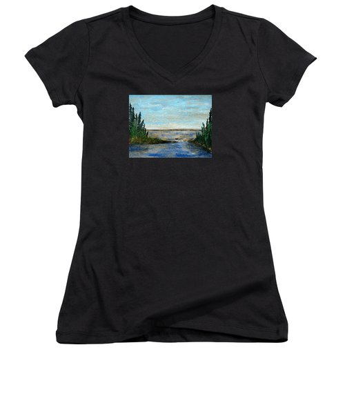 Great Lake Beyond Women's V-Neck T-Shirt (Junior Cut) by R Kyllo