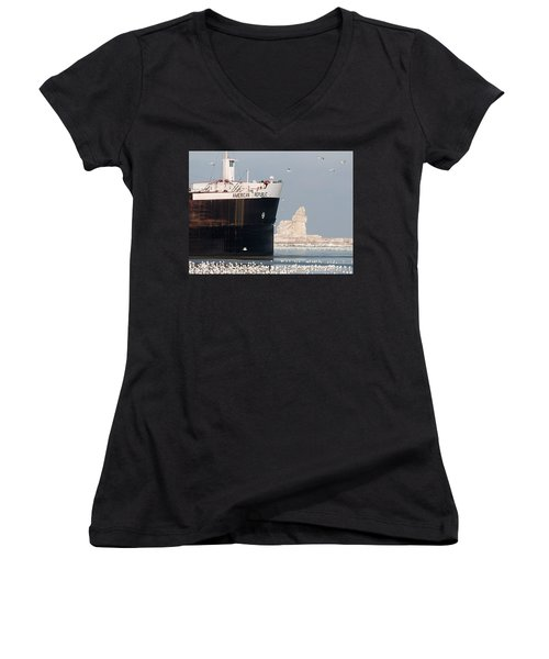 Great Lakes Ship Passing A Frozen Cleveland Lighthouse Women's V-Neck