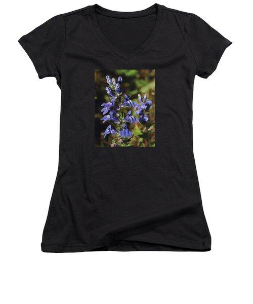 Great Lobelia Blues Women's V-Neck T-Shirt (Junior Cut) by Bruce Morrison
