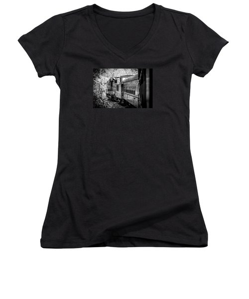 Great Smokey Mountain Railroad Looking Out At The Train In Black And White Women's V-Neck T-Shirt (Junior Cut) by Kelly Hazel
