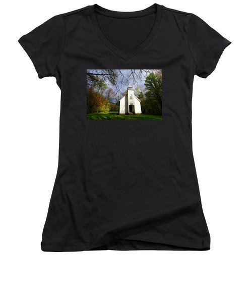 Great Smoky Mountains Spring Storms Over Palmer Chapel  Women's V-Neck