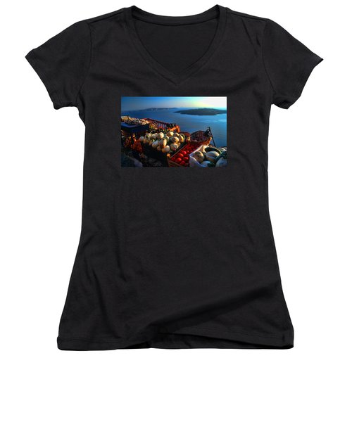 Greek Food At Santorini Women's V-Neck T-Shirt