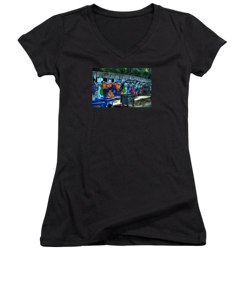 Women's V-Neck T-Shirt (Junior Cut) featuring the photograph Greek Graffiti With Garbage Bins by Richard Ortolano