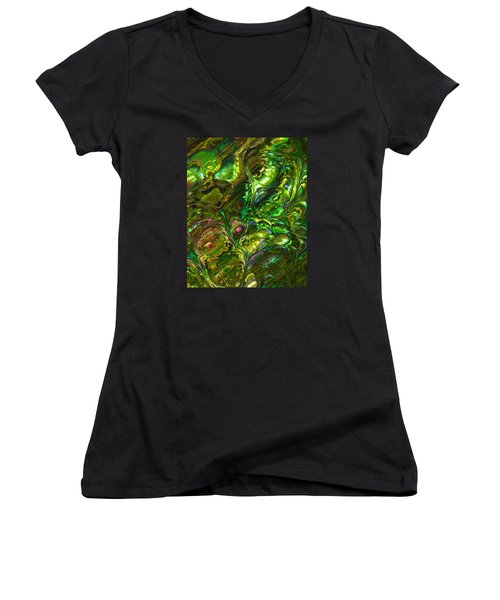 Green Abalone Abstract Women's V-Neck