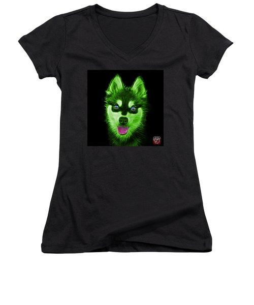 Green Alaskan Klee Kai - 6029 -bb Women's V-Neck T-Shirt