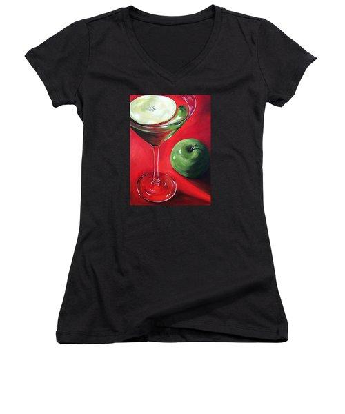 Green Apple Martini Women's V-Neck T-Shirt (Junior Cut) by Torrie Smiley