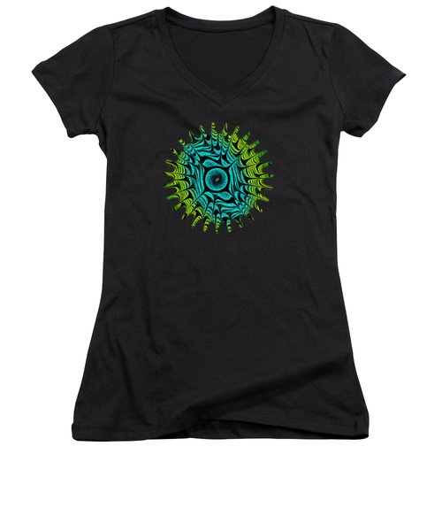Green Dragon Eye Women's V-Neck T-Shirt (Junior Cut) by Anastasiya Malakhova