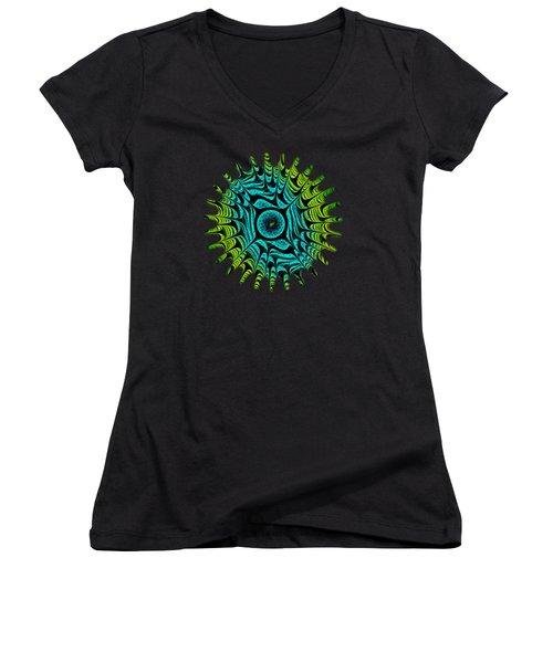 Green Dragon Eye Women's V-Neck T-Shirt (Junior Cut) by Anastasiya Malakhova